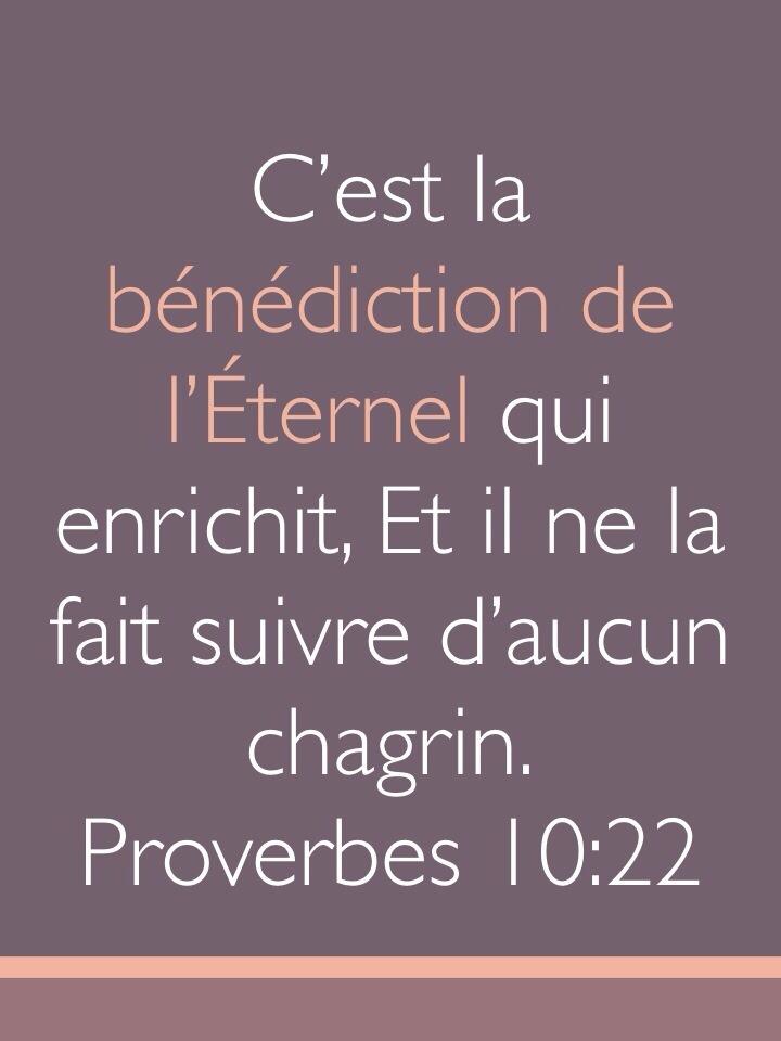 Bien-aimé La bénédiction de l'Eternel enrichit | 1001 versets ZF67