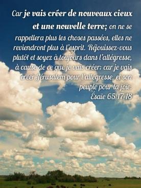 Nouveaux cieux, nouvelle terre   1001 versets